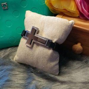 Guess sideways cross leather bracelet